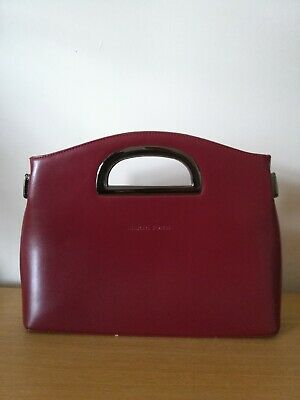 b7360bf6b66 BURGUNDY RED MARTA Ponti Leather Clutch Bag