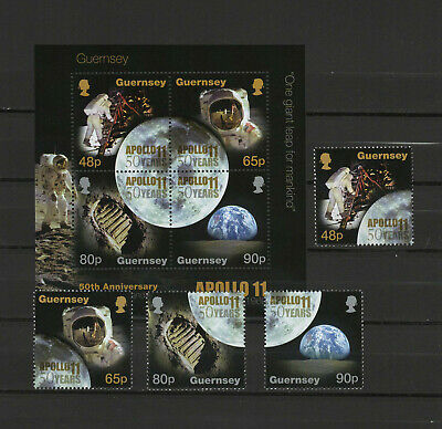 Guernsey 2019 Space, Apollo 11 Moon Landing 50th anniversary set of 4 + s/s MNH