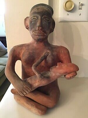 """Mexico Pottery Clay Figure Mother and Child 11 1/4"""" Tall"""
