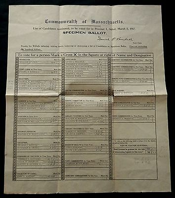 Specimen Ballot MASSACHUSETTS Precinct I ATHOL March 5, 1917 MUST SEE - RARE !!!