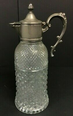 Debbie Reynolds Estate: Pressed Glass Pitcher W/Silver Plate Lidded Spout