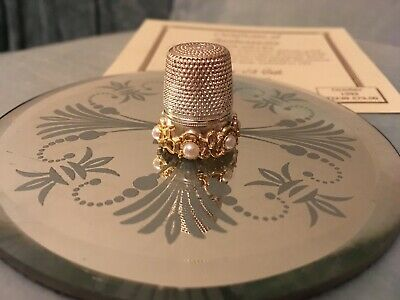 Collectable STERLING SILVER & Gilt THIMBLE -  Pearl & Lace by JULIUS WEINGERT