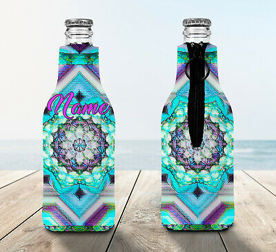 Mandala Personalised Stubby Holder Zip Up Bottle Cooler Collapsible