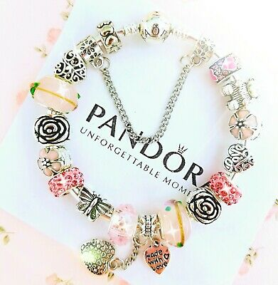 Authentic Pandora Bracelet Silver Bangle with Pink Love Heart European Charm