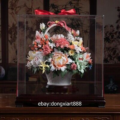 Chinese dehua Porcelain Pottery Handwork Painted blooming Peony flower sculpture