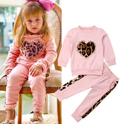 Toddler Kids Baby Girl Winter Clothes Leopard Tops Long Pants Outfits Tracksuit
