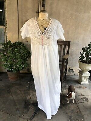 Antique Victorian White Cotton Nightgown Dress Floral Lace Embroidery Vintage