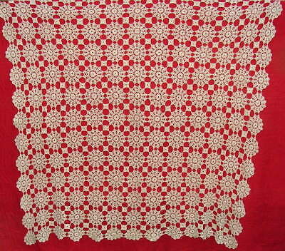 "Vintage Ecru Hand Crocheted Tablecloth Approximately 54"" x 54"""