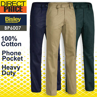 Bisley Work Pants Mens Original Cotton Drill Heavy duty BP6007 NEW