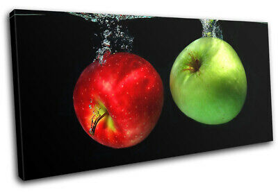 Food Kitchen Apple Water Splash MULTI CANVAS WALL ART Picture Print VA