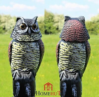 Owl Decoy Large Realistic With Rotating Head Bird Pigeon Crow Scarer Scarecrow