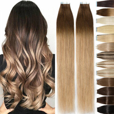 8A Russian Tape In Thick Top Remy Human Hair Extensions 20/40/60pcs Ombre AU it1