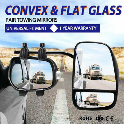 2X Universal Towing Mirrors Extra Wide Flat Convex Glass Caravan Towing Mirrors