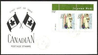 Canada   # 1816 Pair   CHRISTMAS - ANGEL WITH TOYS    New 1999 Unaddressed