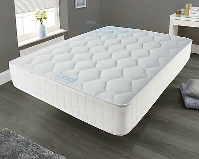 White Memory Foam Spring Mattress - 3ft Single 4ft6 Double 5ft King 6ft Super K