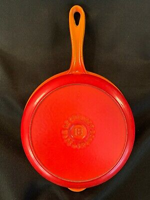 "Vintage Le Creuset 18 Pot Saucepan Flame Orange Red Enamel Cast Iron 7"" No Lid"