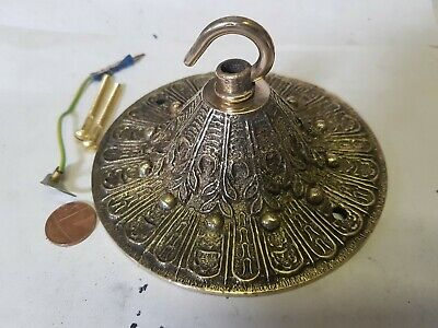 LARGE 13cm CEILING ROSE chandelier hook FRENCH cast brass BRONZE VINTAGE c1930