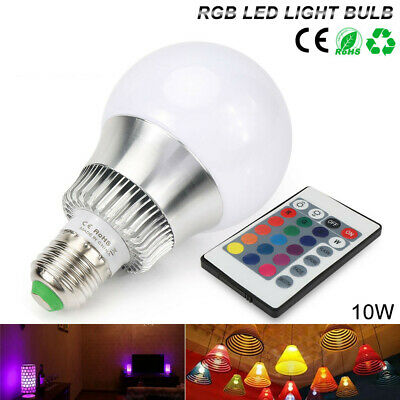 Dimmable E26 10W RGBW RGB LED Light Bulb Multi Color Change Lamp+Remote Control