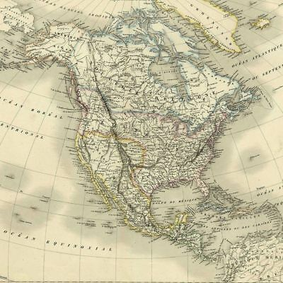 America USA United States of - Map Atlas Card Geographical Antique Engraving