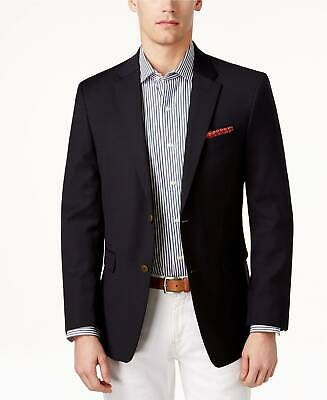 $555 Tommy Hilfiger 40l Men'S Blue Classic Fit Wool Blazer Jacket Sport Coat