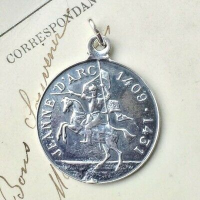 St Joan of Arc on Horseback Medal - Sterling Silver Antique Replica