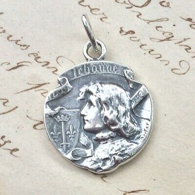St Joan of Arc Banner Medal - Sterling Silver Antique Replica
