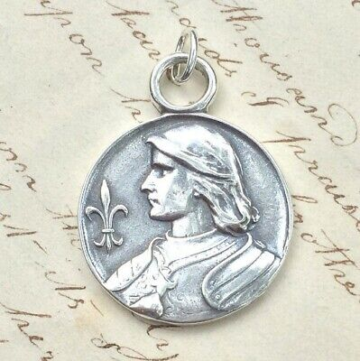 St Joan of Arc Fleur-de-Lys Medal - Sterling Silver Antique Replica