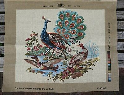Vintage Unworked French Tapestry Canvas Peacock Le Paon Phillipe de la Salle