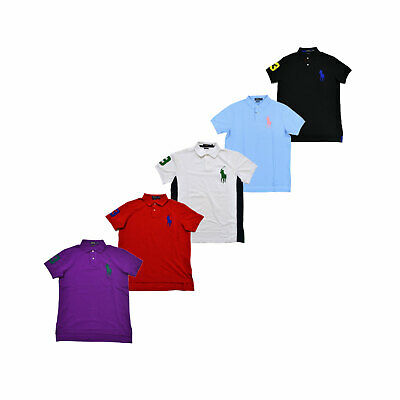 Polo Ralph Lauren Mens Polo Shirt Custom Fit Mesh Big Pony Logo Xs S M L Xl Xxl