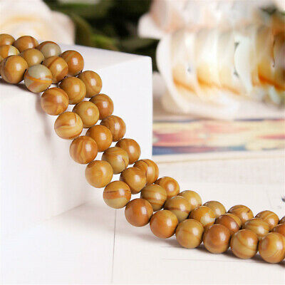 1pcs 4-12mm Wood Grain Stone Round Beads Loose Bead 15 inches Accessories