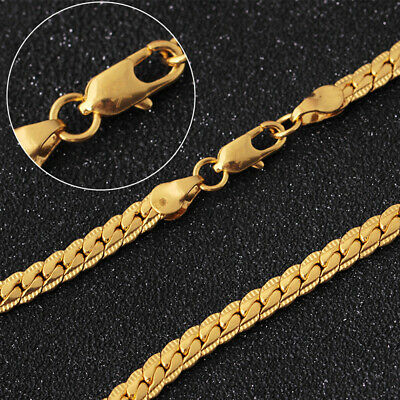 Necklace Gold Plated Women Men Cuban Hip Hop Link Chain Snake Choker Jewelry 18K