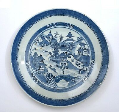 """19C Chinese Export Nanking Blue & White Porcelain Bamboo Charger Plate 37CM 14""""D"""