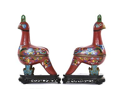 2 Chinese Gilt Cloisonne Enamel Quail Guinea Fowl Bird Box Wood Carved Stand