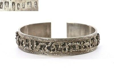 1930's Chinese Sterling Silver Bracelet Cuff Bangle High Relief Figure Mk 60g