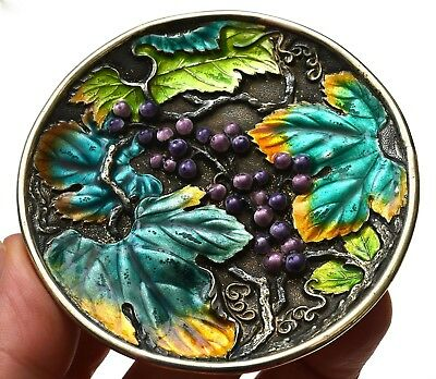1930's Japanese Sterling Silver Enamel Dish Plate Repousse Grapes Leaves Vines