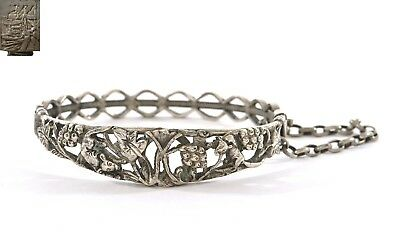Early 20C Chinese Sterling Silver Bracelet Bangle Cuff Squirrel Grapes & Leaves
