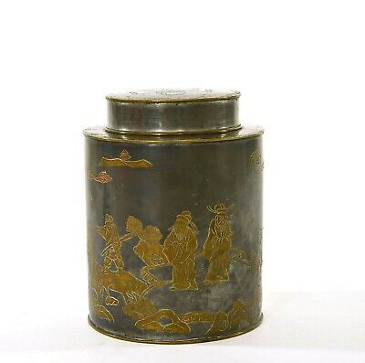 19C Chinese Pewter Brass inlay Figurine Fu Foo Dog Lion Tea Caddy