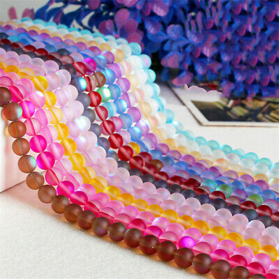 6-12mm Round Color Frosted Stone Loose Beads Diy Hole Gemstone Spacer