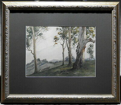 Alvah Earlington Rosebray (1880-1943) Original Painting Sheep & Gums Cootamundra