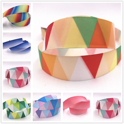 DIY 5 Yard 1'' 25MM triangle rainbow Printed Grosgrain Ribbon Hair Bow Sewing
