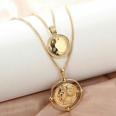 Women Coin Figure Choker Pendant Double-layer Chain Necklace Jewelry HOT