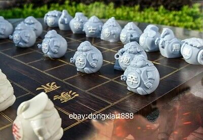 6 cm White Glaze dehua Porcelain Pottery chinese chess soldier warrior sculpture