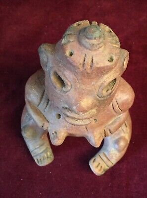 """Intrigue  Pre-columbian Clay """"Sitting shaman with """"UFO"""", Central Mexico"""