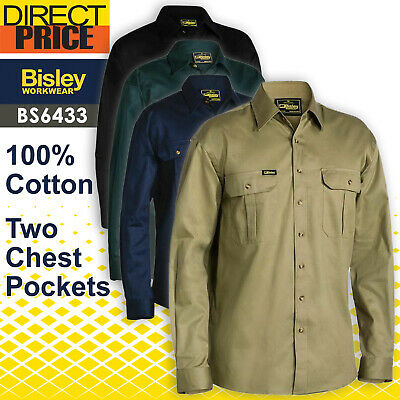 Bisley Work Shirt Original Cotton Drill - Long Sleeve BS6433 NEW