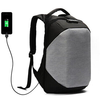 Men Waterproof Anti-theft Lock USB Charging Backpack Laptop School Travel