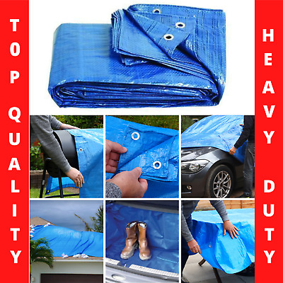 11 SIZES Tarpaulin Blue Waterproof Forniture Caravan Cover Sheet Multipurpose