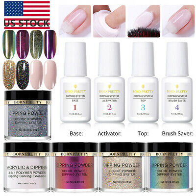 9Pcs/set BORN PRETTY Nail Dipping Powder System Dip Liquid Nail Art Starter Kit