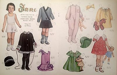 Vintage Pat Stall JANE & her Frocks Paper Doll Uncut 1987 from Pictorial Review