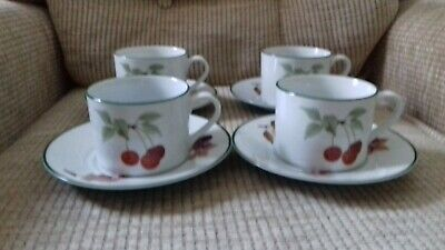 Royal Worcester Evesham Vale - 4 x green rim cups and saucers