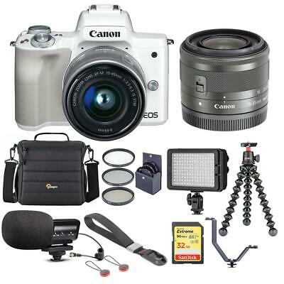 Canon EOS M50 Mirrorless Camera with 15-45mm STM Lens, White With Accessory KIT